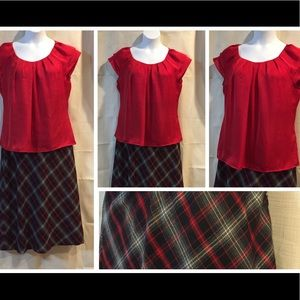 Red plaid Outfit Shirt Blouse & Skirt Lot Lg 14