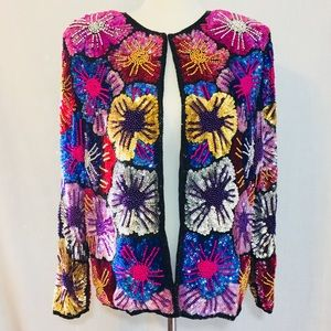Vintage Silk Floral Sequin Beaded Jacket By Avalon