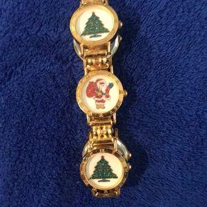 Accessories - Vintage Santa & Christmas Tree Watch