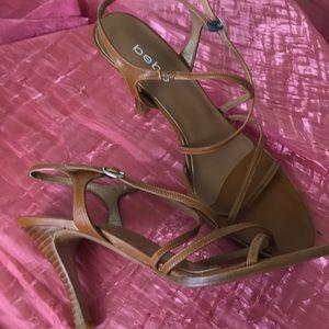Bebe Tan Leather Strappy Heels Pumps 10B