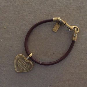 Coach leather bracelet with heart