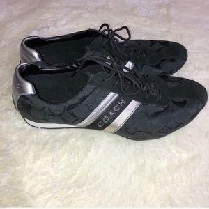Coach Jayme Black & Metallic Silver Sneakers