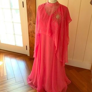 GORGEOUS 70s maxi gown with shawl