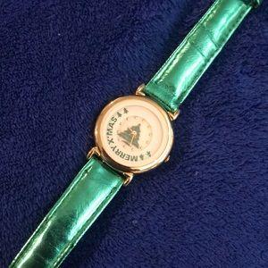 Accessories - Metallic Leather Merry XMAS Watch