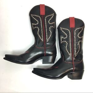 Frye Daisy Duke Black and Red studded boots 77780