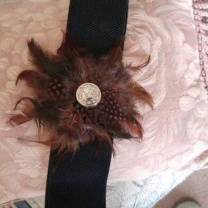 Feather and Rhinestone Stretch Belt