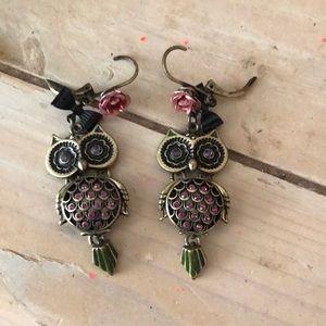 Betsey johnson owl earrings
