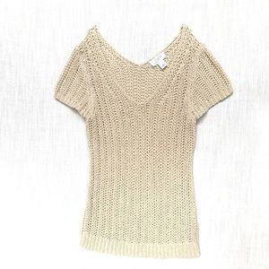 Ann Taylor Cream Sweater, Woven Blouse, Small