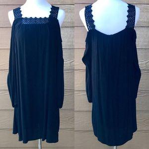 Black Cold Shoulder Long Sleeve Dress Crochet