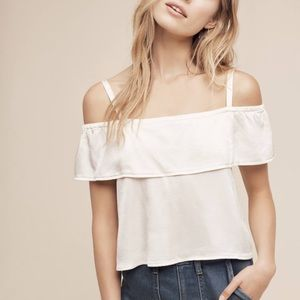 Anthropologie Lacausa Cropped Open Shoulder Top