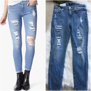 7 For All Mankind Ankle Skinny Destroy and Sequins