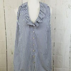 Ralph Lauren Striped Sleeveless Ruffle Shirt XL