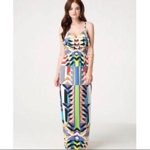 NWT Bebe Ruffle Jersey Maxi Dress