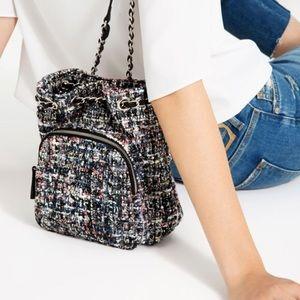 Zara Chain Colorful Tweed Bookbag Backpack Bag
