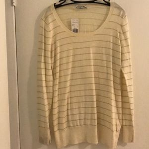 Forever 21 Cream Sweater with Gold Stripes