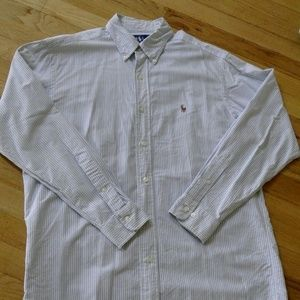 Ralph Lauren blue striped button down long sleeves