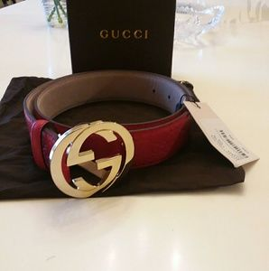 Red Gucci gold buckle leather belt