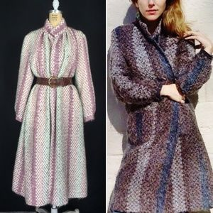 Vintage Long Mohair Weave Open Front Duster Coat.
