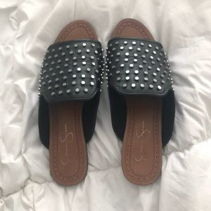 Never worn Jessica Simpson leather studded slides