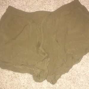 Olive Green Forever 21 Casual Soft Flowing Shorts