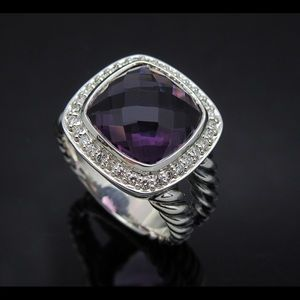 D.Yurman 11mm Amethyst & Diamonds Albion Ring sz 7