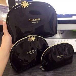 Chanel VIP Beaute Snowflake Makeup Bag 3pcs Set
