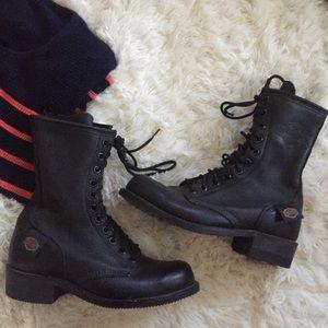 Harley Davidson Black Leather Combat Riding Boots
