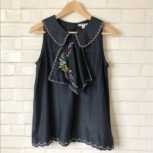 Anthropologie Embroidered Bib Blouse