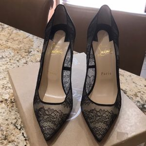 Christian Louboutin Pigalle Black lace heels.