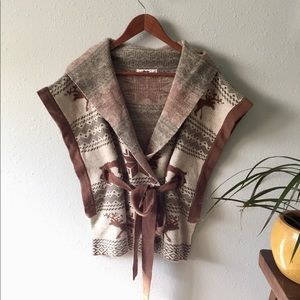 Tie Front Boho Christmas Sweater