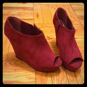 Mossimo Red Suede Peep Toe Wedges
