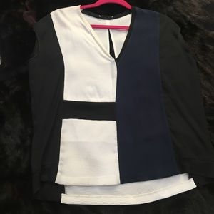 Zara W/B collection open back Blouse