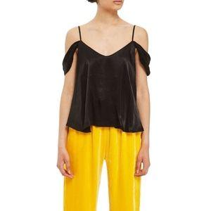 Topshop Black Satin Cold Shoulder Camisole Sz 2