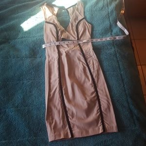 Tan and black fitted dress