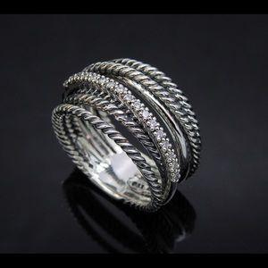 D.Yurman Wide Crossover Strlg Ring with Diamonds