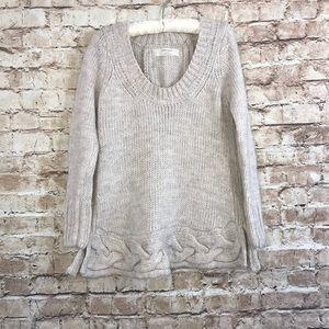 Zara Knit Cream Chunky Split Back Braided Sweater