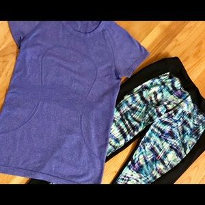 Blue LuluLemon Top and Cynthia Rowley leggings