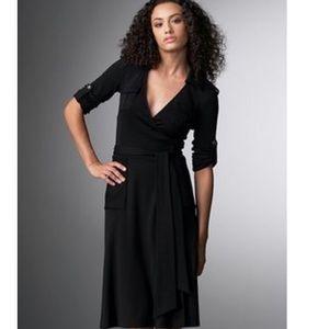 Diane Von Furstenberg Black Military Wrap Dress