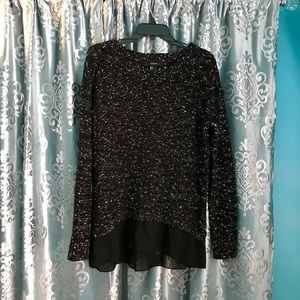 Forever 21 Black and White Ruffle Sweater