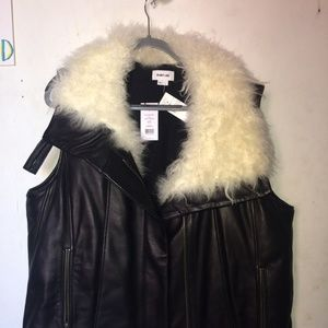 Helmut Lang Leather Vest with Genuine Goat Fur