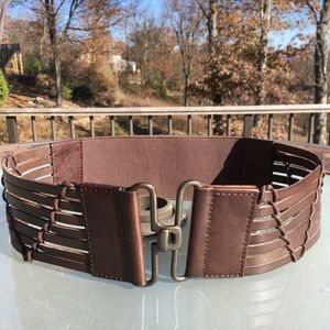 Jessica Simpson leather and stretch belt M/L NWT