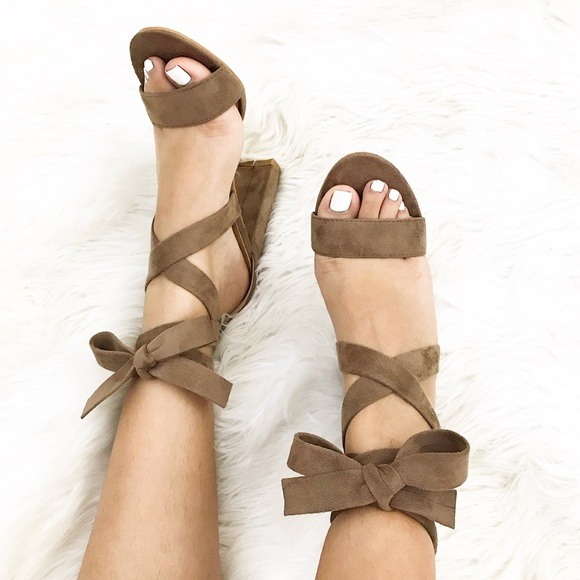 Shoes - Taupe Lace Up Chunky Heels
