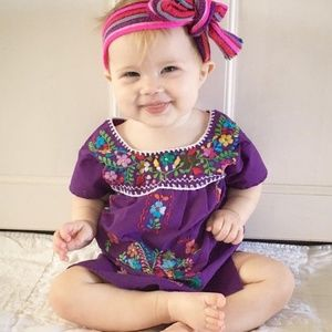 Mexican Traditional Dress Baby Girl Purple Handmad