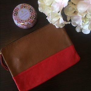 Gap Red and Tan Leather Zip Clutch / Pouch