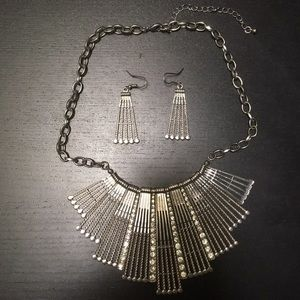 Silver toned statement necklace and earrings set