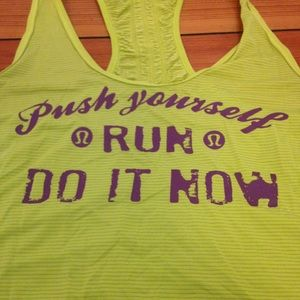Lululemon Green Push Yourself Run Racer Back Tank