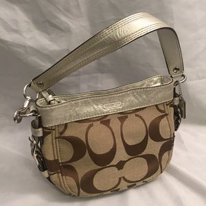COACH Soho Brown Leather and Gold Canvas Handbag