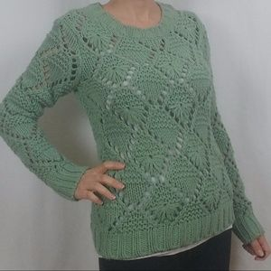 FOREVER 21 CHUNKY KNIT SWEATER SAGE GREEN