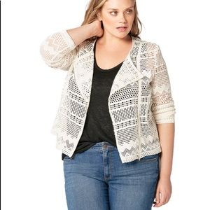 NWT JustFab Off White Lace Moto Jacket