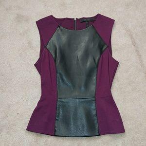 BCBGMaxAzria Sleeveless Faux Leather Peplum Top